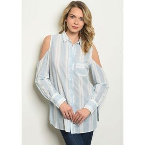 Striped Cold Shoulder Button Down Long Sleeve